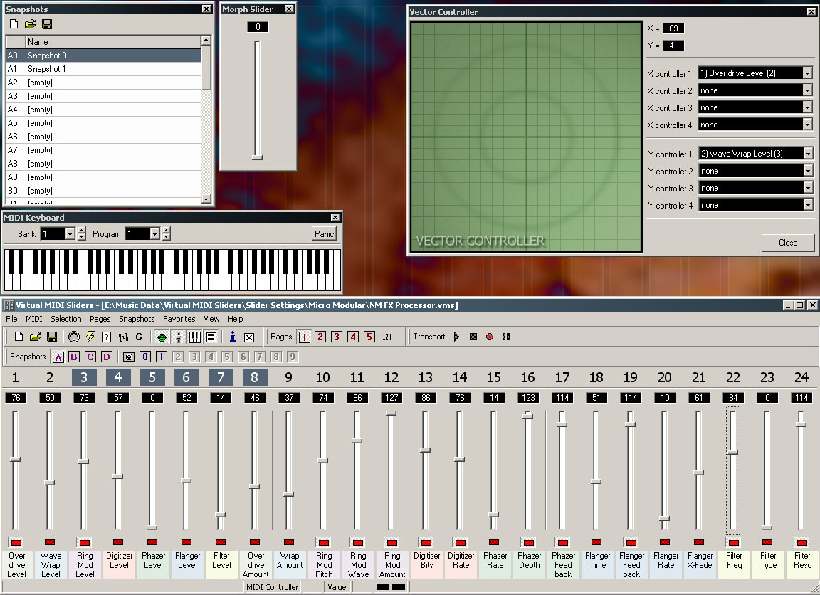 Granucon - Music Software - Virtual MIDI Sliders